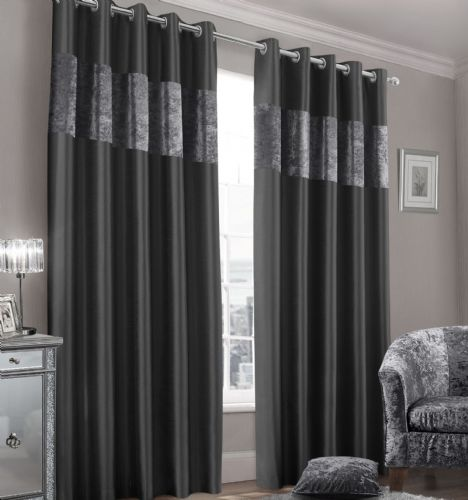 Stylish Faux Silk Crushed Velvet Modern Textured Ringtop Eyelet Pair Of Curtains Charcoal Colour